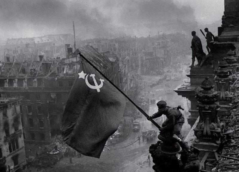 красное знамя над рейхстагом фото